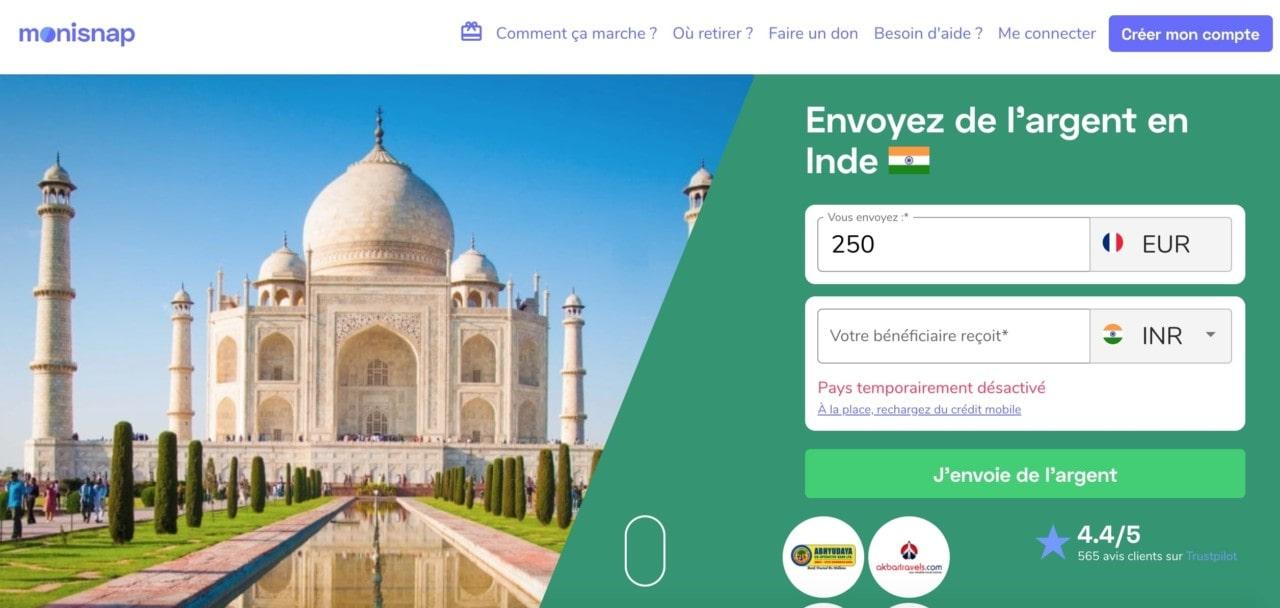 Monisnap : envoyer de l'argent en Inde