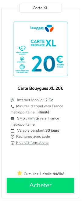 Recharge internet Bouygues Telecom 20€