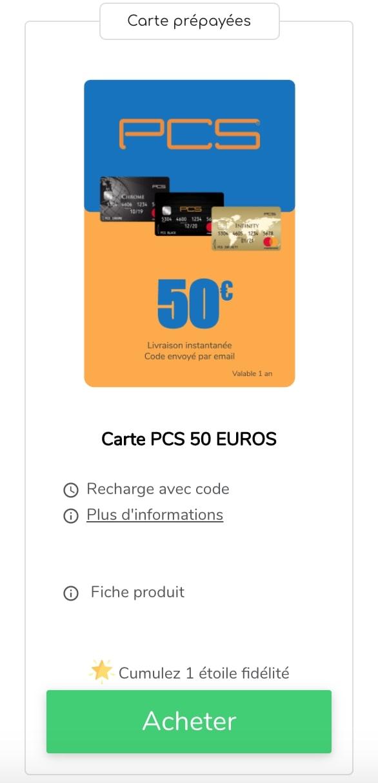 Recharge carte PCS Infinity