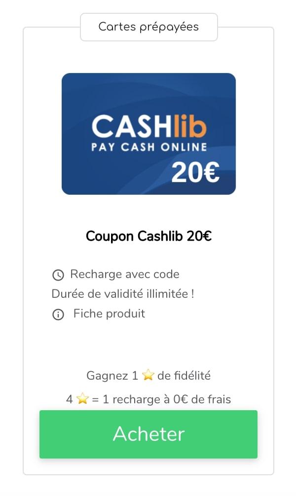 Acheter recharge Cashlib 20€