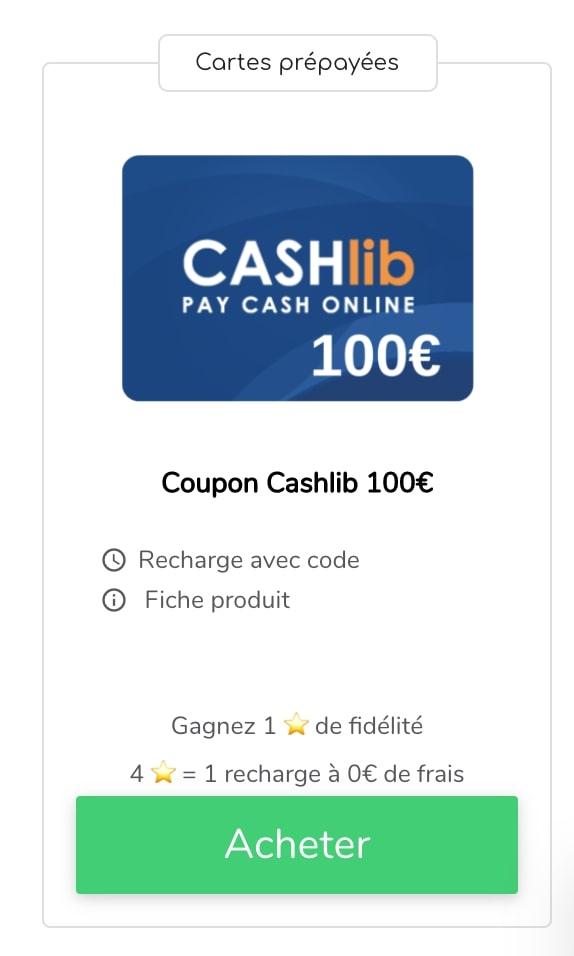 Recharge Cashlib 100€