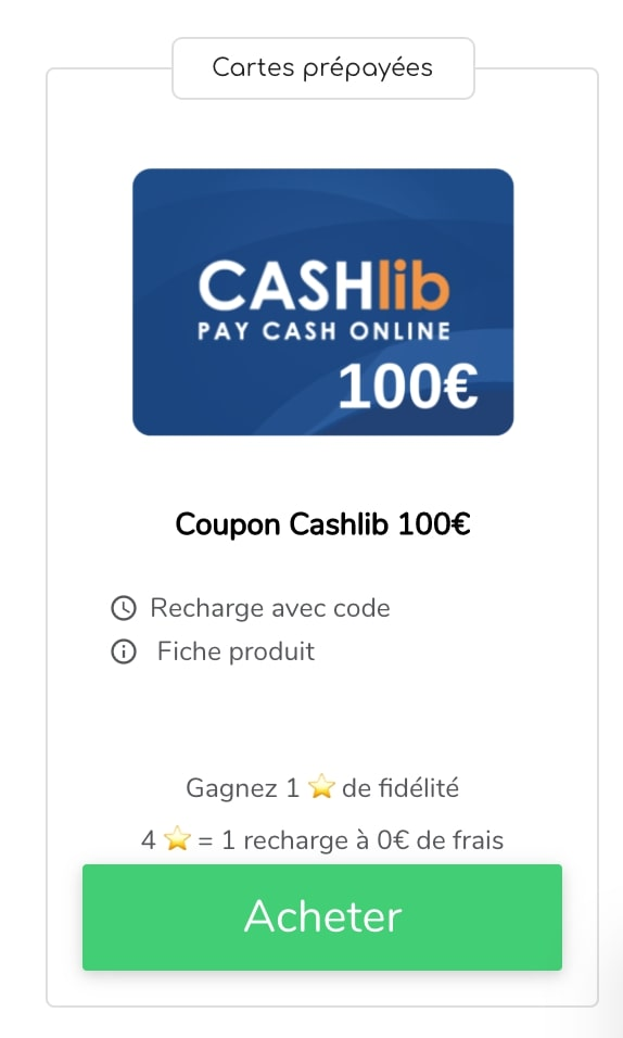 Acheter recharge Cashlib 100€